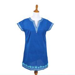 Blue Starfish Embroidered Shift Dress