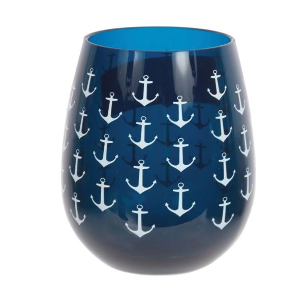 Navy Anchor Stemless Glass