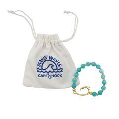 Cape Hook - Teal Beaded Gold Hook