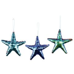 Sequined Starfish Ornament LG - Set of 3