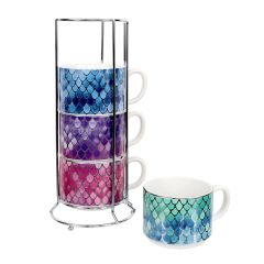 Scale Pattern Stacking Mug Set of 4