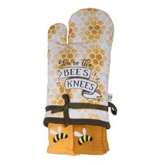 Bees Knees Oven Mitt and Towel Set