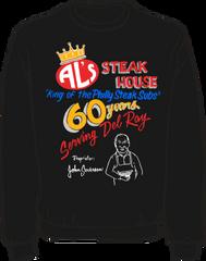 Al's Steak House - 60 years by Donnie Strother Sweatshirt in BLACK