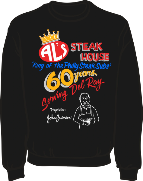 Al's Steak House - 60 years by Donnie Strother Sweatshirt in BLACK