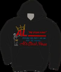 Al's Steak House - Steak King by Donnie Strother Hoodie in BLACK