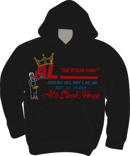 Al's Steak House - Steak King by Donnie Strother Hoodie in BLACK