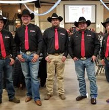 Collins Auction Team Left to Right. Glen Birkey, Seth Johnson, Luke Styren, Jerry Collins, Ben Collins