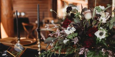 table setting, flowers, candles, wedding decorations, wedding decorator, Estes Park Resort Wedding