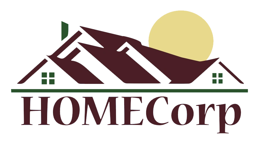 HOMECorp logo - a the word HOMECorp with a house and sun overlay.