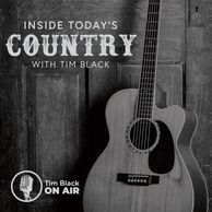 Inside Today's Country with Tim Black. Black and white image of guitar leaning against paneled door.