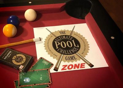 Zone Mats for the Ultimate Pool Challenge Card Games are vinyl mats that aid in cue ball control.