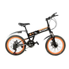 KIMI Folding Black&Orange Mountain Bicycle with 20'' spoke wheels