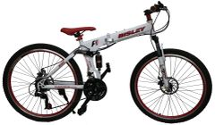 BISLEY Mountain Bicycle with Folding High carbon steel frame and 26'' wheels, white&red
