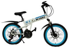 KIMI Mountain Bicycle with Folding High carbon steel frame and 20'' wheels, white&blue