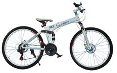 FRRX / XXTOO Mountain Bicycle with Folding High carbon steel and 26 inch wheels, white&blue