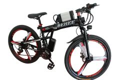 BEHEE X Mountain Fully Loaded Electric Bicycle with Folding High carbon steel and 26'' wheels