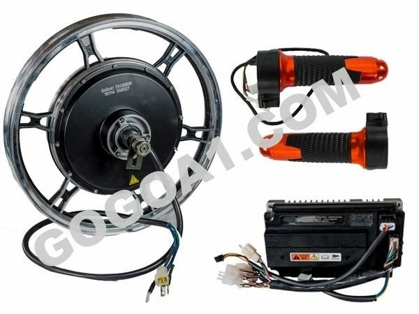 GoGoA1 17 inch 3000W Brushless Electric Motorcycle Hub Motor Kit (Pre-Order)