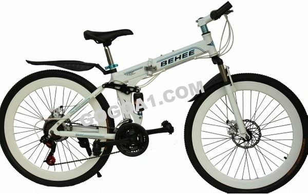 BEHEE Mountain Bicycle with Folding High carbon Steel frame and 26'' spoke wheels, white