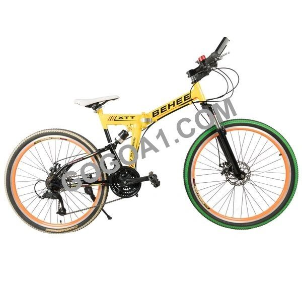 BEHEE Mountain Bicycle with Folding High carbon steel frame and 26'' wheels