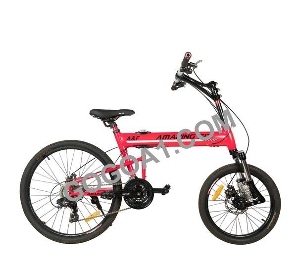 Amazing Fit Mountain Bicycle with Folding Aluminum frame and 20'' front wheel, 26'' rear wheel
