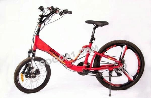 Amazing Fit Fully Loaded Electric Mountain Bicycle with Folding Aluminum frame and 20'' front wheel, 26'' rear wheel