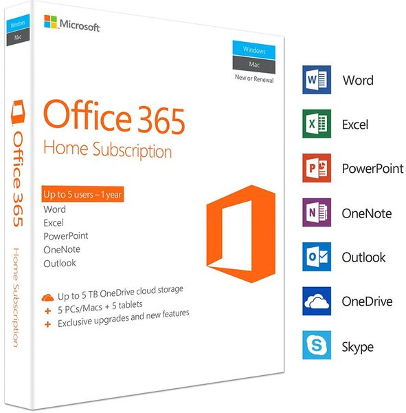 Microsoft Office 365 Home FOR 5 PC or 5 Mac laptops + 5 Tablets (1 Year Subscription Activation Key Card )