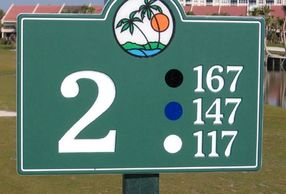 Golf Hole Number Sign with yardage