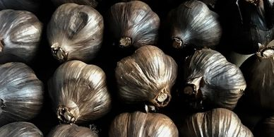 Black garlic sold through our online store.
