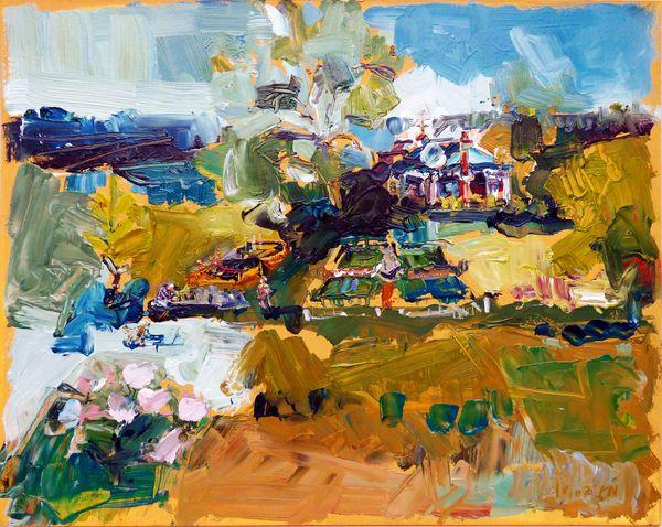 1605-01h Sweet Pea, Garden and Lake Awaiting (Kregness Thorsen Original Oil)