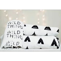 CLOSEOUT!!!!!!3 Pack Muslin Swaddle Blankets (Wild Thing, HeHe, Confetti)