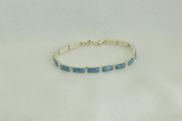 "Sterling silver denim lapis inlay rectangle 7.5 "" link bracelet.  B015"