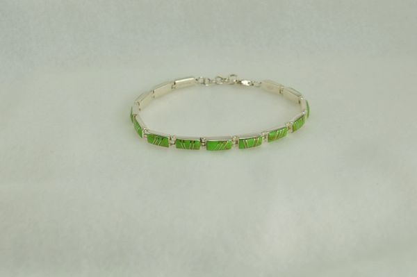 "Sterling silver gaspeite inlay rectangle 7.5 "" link bracelet.  B016"