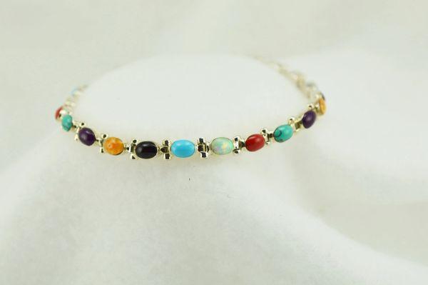 """Sterling silver multi color oval link 7.75"""" bracelet. B096"""