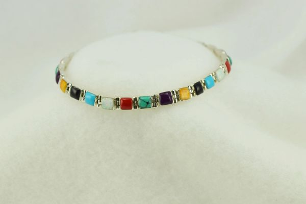"Sterling silver multi color square link 7.75"" bracelet. B098"