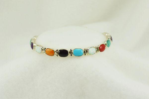 """Sterling silver multi color oval link 7.25"""" bracelet. B099"""