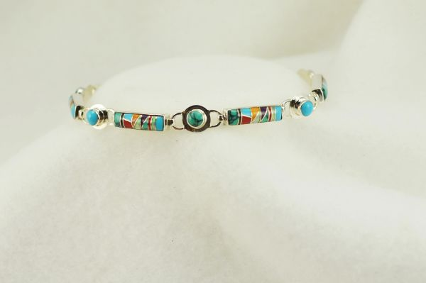 "Sterling silver multi color inlay link 8.25"" bracelet. B101"