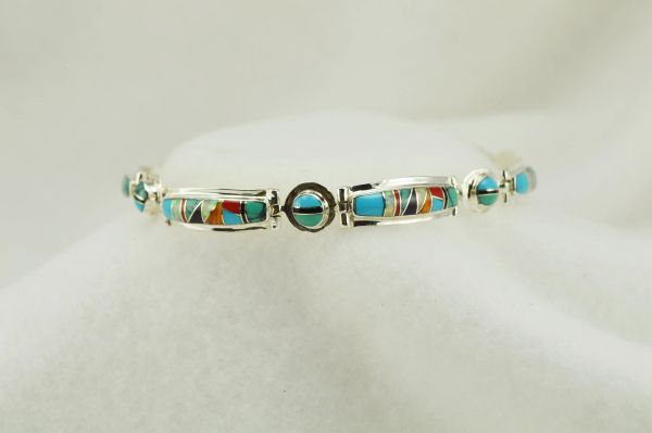 "Sterling silver multi color inlay link 8.25"" bracelet. B103"
