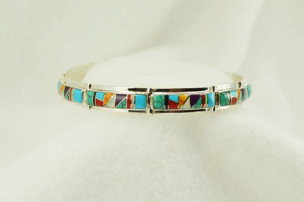 "Sterling silver multi color inlay link 8."" bracelet. B104"