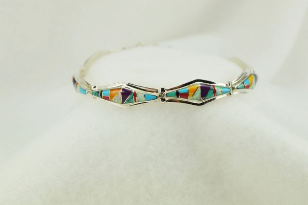 "Sterling silver multi color inlay link 7.25."" bracelet. B105"