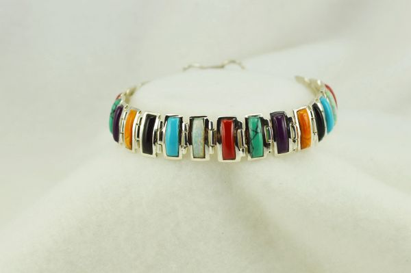 "Sterling silver multi color link 8"" bracelet. B106"