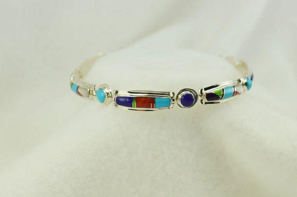 "Sterling silver multi color inlay link 8.25"" bracelet. B108"