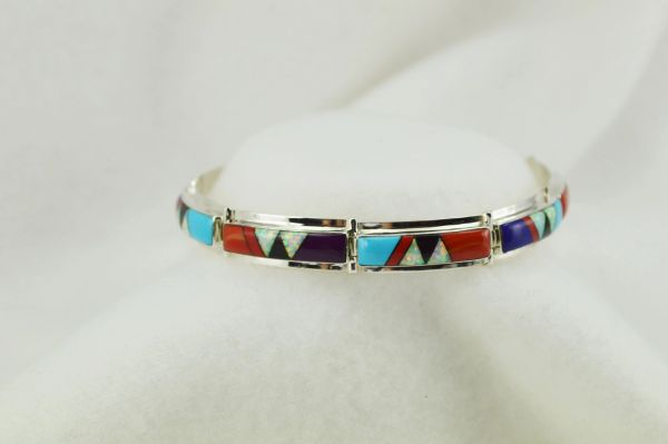 "Sterling silver multi color inlay link 8"" bracelet. B109"