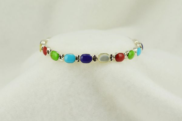 "Sterling silver multi color oval link 7.25"" bracelet. B110"