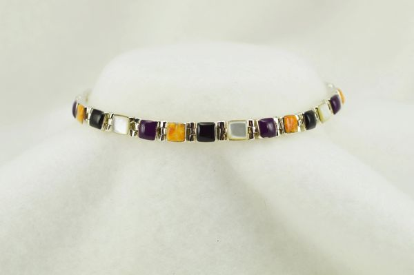 "Sterling silver multi color link 7.75"" bracelet. B115"