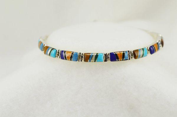 "Sterling silver multi color rectangle inlay link 7.5"" bracelet. B117"