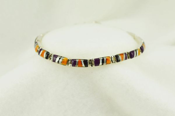 "Sterling silver multi color inlay rectangle link 7.5"" bracelet. B119"