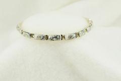 "Sterling silver howlite rectangle inlay link 7.5"" bracelet. B121"