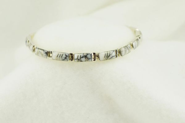 "Sterling silver howlite rectangle inlay link 7.5"" bracelet. B121"