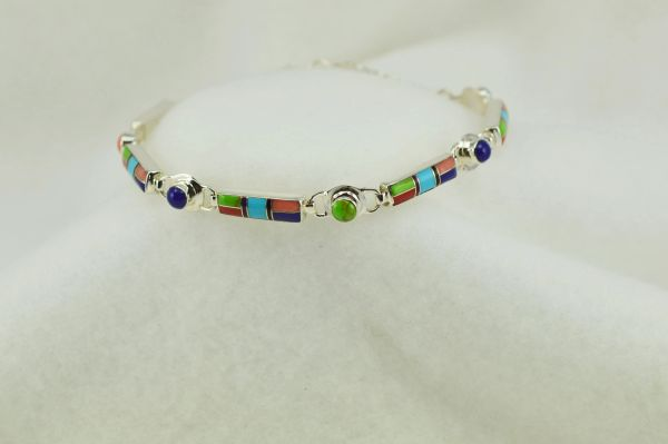 "Sterling silver multi color inlay link 8"" bracelet. B124"