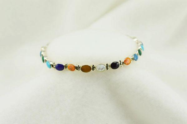 """Sterling silver multi color oval link 7.25"""" bracelet. B126"""